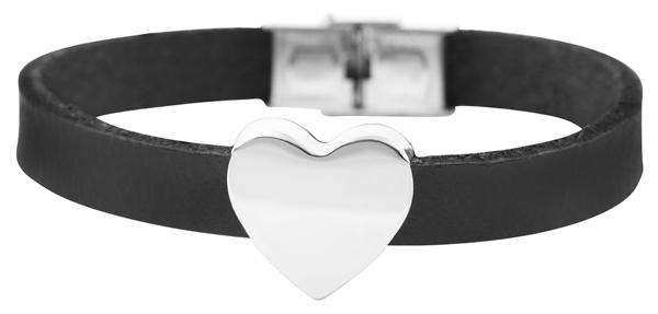Akzent Damen-Armband Gravur Initialen Herz Edelstahl Echt Leder 5040233