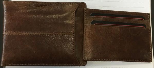 Akzent Herren - Geldbörse Echt Leder Portemonnaie Querformat 11,5 x 9 cm 3000267