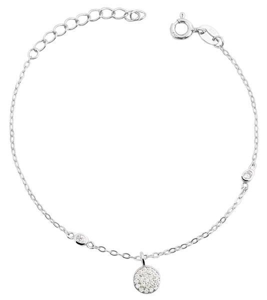 Giulia Luna - Armband 925er Silber rhodiniert 14+3 cm rund Kreis Strass-Stein GL5240020