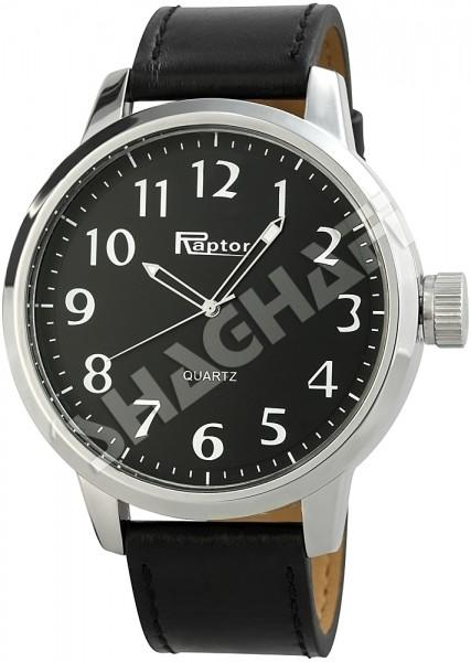 Raptor Herren - Uhr Oberseite Leder Armbanduhr Dornschließe Analog Quarz RA20056