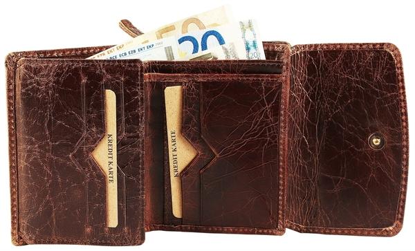 Raptor Damen-Geldbörse Echtleder Crunch Look 12x9cm Querformat RA40042