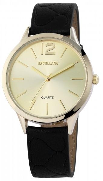 Excellanc Damen – Uhr Lederimitat Armbanduhr Dornschließe Analog Quarz 1900047