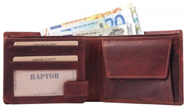 Raptor Herren-Geldbörse Echtleder Crunch Look 12x10cm Querformat RA40012