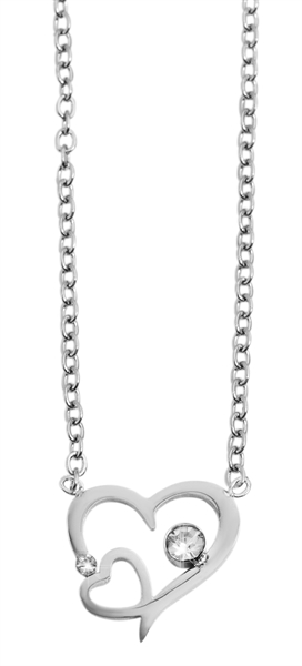 Akzent Damen - Halskette Herz Anhänger Edelstahl Ankerkette 43+5cm 5010270