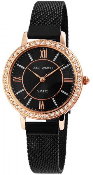 Just Watch Damen-Uhr Edelstahl Milanaiseband JW126 Strass Analog Quarz JW10064