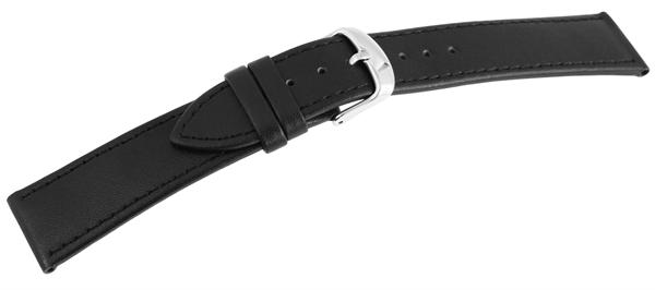 Echtleder Uhrenarmband, schwarz, schwarze Naht, glatt, flach, mit silberfarbener Dornschließe, Größe