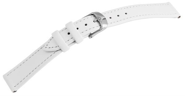 Echtleder Uhrenarmband in weiß mit weißer Naht, glatt, flach, silberfarbene Dornschließe