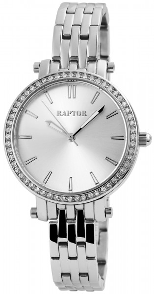 Raptor Damen-Uhr Edelstahl Strass-Steine Analog Armbanduhr Quarz RA10016
