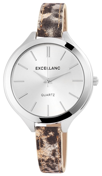 Excellanc Damen-Uhr Lederimitation Tier Print Analog Quarz 195022500192