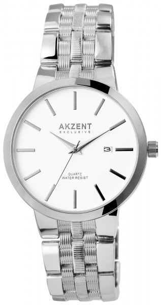 Akzent Exclusive Herren - Uhr Metall Armbanduhr Datum Analog Quarz 2800072
