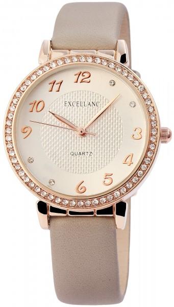 Excellanc Damen-Uhr Lederimitat Dornschließe Strass Analog Quarz 1900106