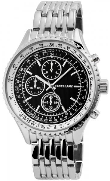 Excellanc Herren-Uhr Gliederarmband Metall Leuchtzeiger Analog Quarz 2800045