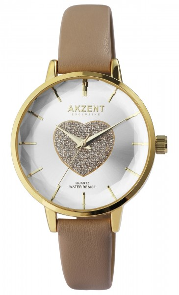 Akzent Exclusive Damen-Uhr Lederimitatband Glitzer Herz Analog Quarz 1900251