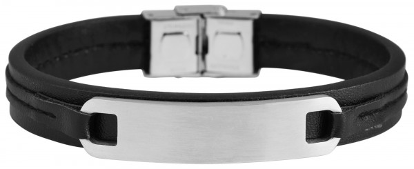 Akzent Unisex-Armband Gravur Edelstahl Echt Leder 5040015