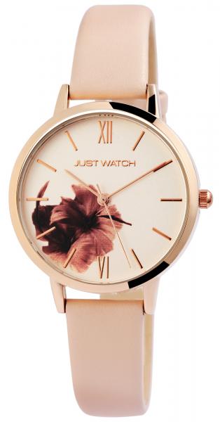 Just Watch Florence Damen-Uhr Echt Leder Dornschließe Blume Analog Quarz JW10128