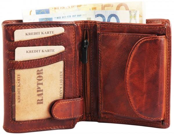 Raptor Herren - Geldbörse Echt LEder Portemonnaie Brieftasche 11x9 cm RA40011
