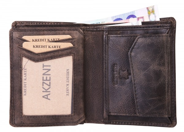 Akzent Herren - Geldbörse Leder Portemonnaie RFID Vintage Hoch 9x11 cm 3000257