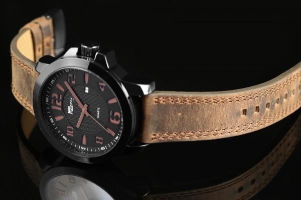 Raptor Herren-Uhr Armband Oberseite Echt Leder Datumsanzeige Analog Quarz RA20141