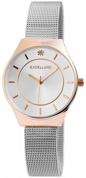 Excellanc Damen-Uhr Analog Quarz Edelstahl Armbanduhr Mesh 1300011