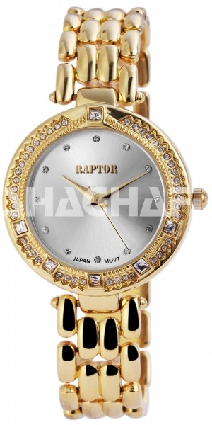 Raptor Damen-Uhr Metall Armband Strass-Steine Analog Quarz RA10063