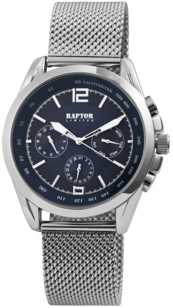 Raptor Limited Herren-Uhr Milanaiseband Multifunktion Analog Quarz RA20222