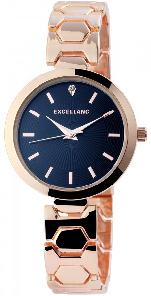 Excellanc Damen-Uhr Metallarmband Faltschließe Strass elegant rund Analog Quarz 1800073