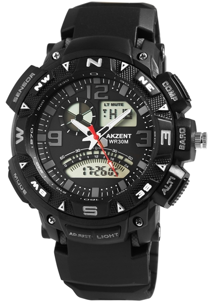 Akzent Herren - Uhr Multifunktion Silikonarmbanduhr Analog-Digial Quarz 24200015