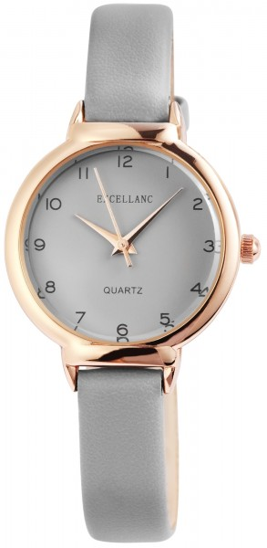 Excellanc Damen-Uhr Lederimitat Dornschließe Rund Analog Quarz 1900166