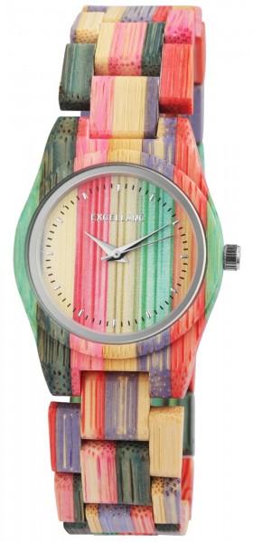 Excellanc Damen - Uhr Holzarmband Holzuhr Armbanduhr Faltschließe Quarz 1800193