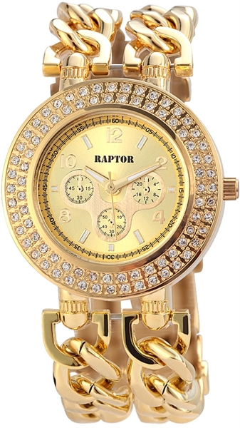 Raptor Analog Damenuhr, Metall, Ø 38 mm, Gold - 197604000008