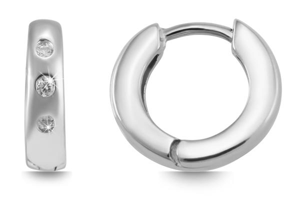 Giulia Luna Damen – Ohrringe 925er Silber rhodiniert Creole Strass GL5200056