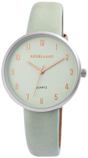 Excellanc Damen-Uhr Lederimitat Dornschließe Rund Analog Quarz 1900161