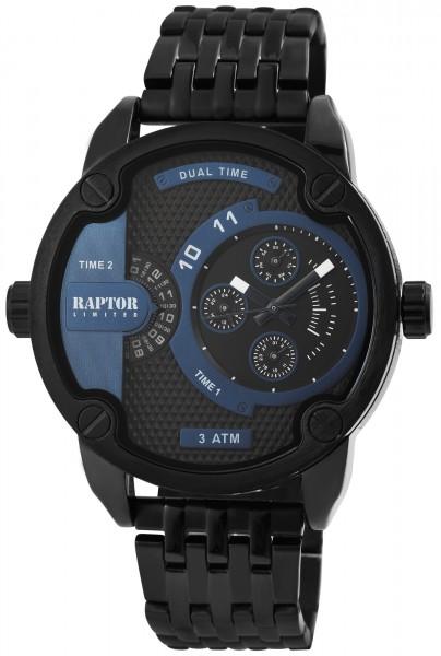 Raptor Limited Herren-Uhr Edelstahlarmband Multifunktion Analog Quarz RA20223