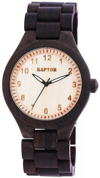 Raptor Herren - Holzuhr Holz Armbanduhr Gliederarmband Analog Quarz RA20017