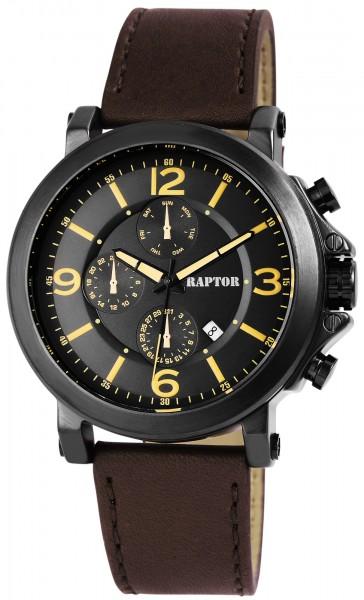 Raptor Herren-Uhr Armband Oberseite Echtleder Datumsanzeige Analog Quarz RA20113