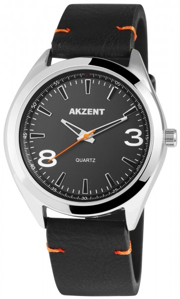 Akzent Herren - Uhr Lederimitations Armbanduhr Elegant Analog Quarz 2900001