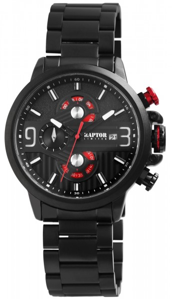 Raptor Limited Herren-Uhr Chronograph Edelstahl Analog Quarz RA20245