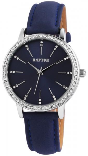 Raptor Damen-Uhr Echt Leder Armband Strass Glitzer Elegant Analog Quarz RA10176