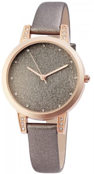 Excellanc Damen-Uhr Lederimitat Dornschließe Glitzer Strass Analog Quarz 1900105
