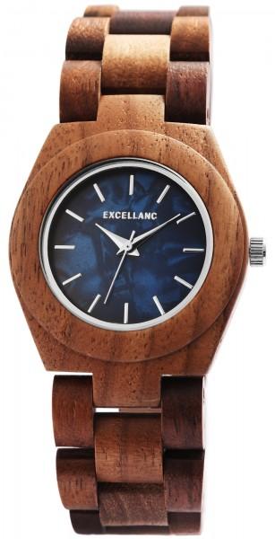Excellanc Damen-Holz Uhr Perlmutt Faltschließe Gliederband Analog Quarz 1800192