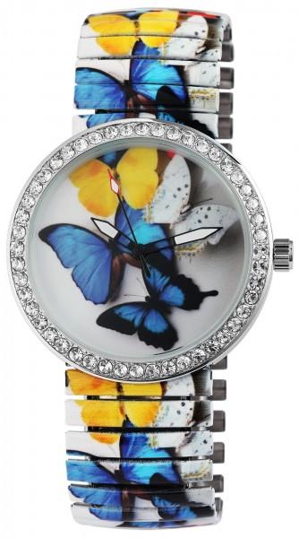 Excellanc Damen – Uhr Zugband Armbanduhr Strass Metallband Analog Quarz 1700032