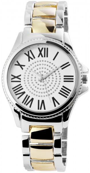 Excellanc Damen-Uhr Metallarmband Faltschließe Strass Analog Quarz 1800118