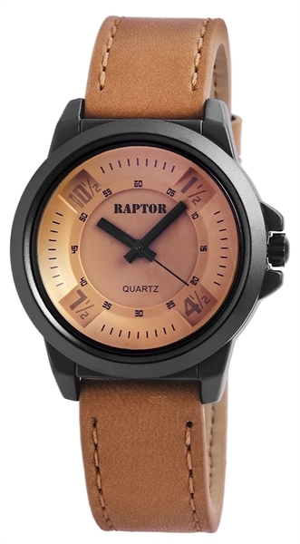 Raptor Damen-Uhr Armband Oberseite Echtleder Dornschließe Analog Quarz RA10158