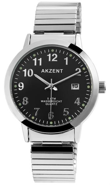 Akzent Herrenuhr - Metallzugband Datumsanzeige Analog Uhr Quarz Armbanduhr 2700012