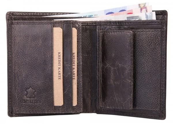 Akzent Herren - Geldbörse Leder Portemonnaie RFID Vintage Quer 11,5x9 cm 3000255