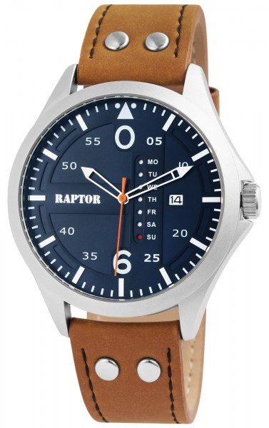 Raptor Herren-Uhr Echt Leder Armband Datum Wochentag Analog Quarz RA20264