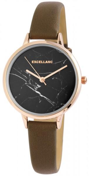 Excellanc Damen-Uhr Lederimitat Dornschließe Marmoroptik Analog Quarz 1900214