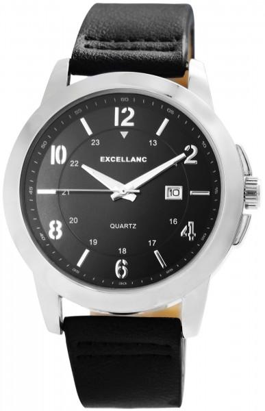 Excellanc Herren-Uhr Lederimitat Dornschließe Datum Analog Quarz 2900186