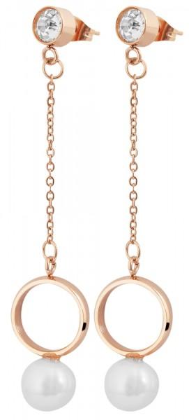 Akzent Edelstahl Ohrring, Perle, Ring, Stein, Länge: 7 cm / Breite: 1,9 cm / Stärke: 1 cm