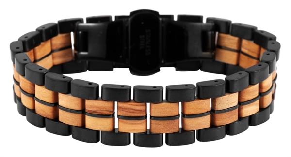 Raptor Schmuckarmband aus Edelstahl mit Holz, UVP 59,95 €